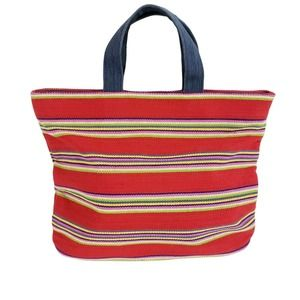 Fossil Red Stripe Canvas Tote Red HandBag